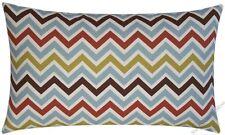"Brown/Blue/Rust/Citrine Chevron ZigZag throw pillow cover/cushion cover 12x20"""