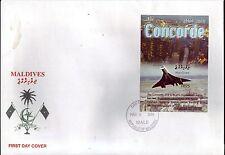 5120+ CONCORDE   1er JOUR BLOC  NON  DENTELE  MALDIVES  2004