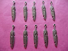 Tibetan Silver Feather Charm 10 per pack