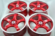17 red wheels rims Vigor Civic Cooper Miata Cobalt Corolla Tiburon 4x100 4x114.3