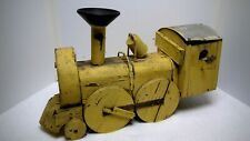 Antique Painted Wooden Yellow Locomotive Birdhouse