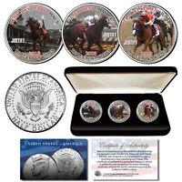 JUSTIFY Triple Crown Winner Horse Racing 2018 JFK Half Dollar 3-Coin Set w/ BOX
