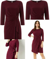 Roman Originals Womens Twist Front Burgundy Wine Stretch 3/4 Length Sleeve Dress