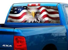 P423 American Flag Eagle Rear Window Tint Graphic Decal Wrap Back Truck Tailgate