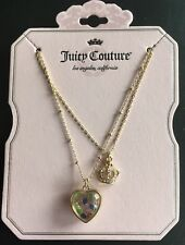 JUICY COUTURE GOLD-TONED LAYERED HEART SHAKER & CROWN PENDANT NECKLACE NEW!