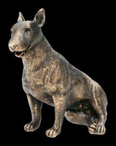 Hunde Figur - Bullterrier bronzefarben - Hund Haustier Terrier Dekostatue