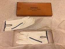 vintage Hermes Paris white leather lambskin kid women's gloves size 6 1/2 in box