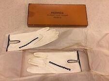vintage Hermes Paris white leather lambskin kid women's gloves size 6 1/2 in box
