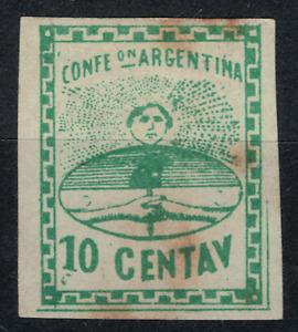 (1860)  GJ.5A. Confederation. Big numbers. 10c, dark green. MLH . Good condition