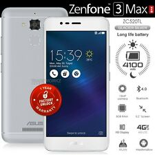 """ASUS Zenfone 3 Max ZC520TL Silver 5.2"""" IPS LCD 4G LTE Android 6.0.1 Mobile Phone"""