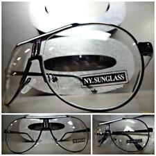 CLASSIC VINTAGE 70s RETRO Style Clear Lens EYE GLASSES Black Metal Fashion Frame