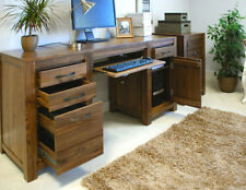 Baumhaus Twin Pedestal Computer Desk Home Office - Solid Walnut Collection