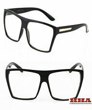 OVERSIZE LARGE BIG Clear Lens Eye Glasses Squared Aviator Design Vintage Style