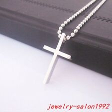 New Design Men Women's Stainless Steel Silver Small Cross Chain Pendant Necklace