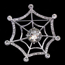 Lovely Spider Web Cobweb Czech Crystal Brooch Pin 5cm Tall