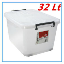 32Lt STORAGE TUB BOX CONTAINERS HEAVY DUTY ROLLER WHEEL LIDS HANDLES AP