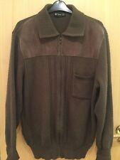 "1990s Vintage Retro St Michael M & S Cardigan Suede Trim Zip Collar Brown Lg 42"""