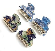 4 pcs Larger size ~ 4cm MINI HAIR CLAWS Clips Floral Blue Navy Flowers