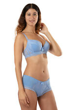 AMORE ensemble soutien-gorge push-up et Boxer coloris bleu skys lingerie 100C/XL
