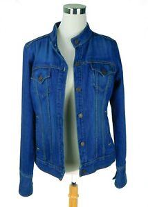 NWOT Levis Juniors Size Medium 7/9 Denim Jean Jacket Banded Collar 3 Button Cuff