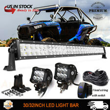 "30.5"" Roof LED Light Bar+4"" Pods+Wiring For Polaris RZR 570 800 900 XP1000 32"""