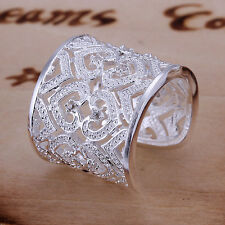 Wide 925 Silver CZ Hollow Out Wedding Band Adjustable Size Womens Opening Ring