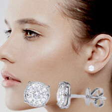 LARGE DIAMOND STUDS CLUSTER STYLE 14K WHITE GOLD EQUIVALENT TO 1.70 CARAT(#3)