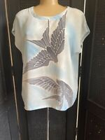 Vintage Batique Silk Top Swallow Bird Design Unique  Signed By Artist, Artisan