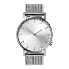Silver Minimalist Watch for Men Swiss Quartz Stainless Steel Nixon/Komono Style