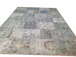 CUSTOM Light sky blue vintage Overdyed Rug Handmade Turkish Patchwork Carpet rug