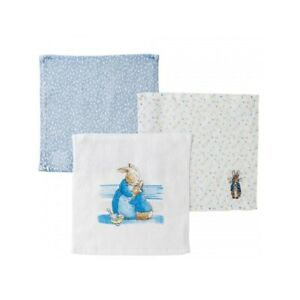 Beatrix Potter A29585 Peter Rabbit Baby Collection Set of 3 Face Cloths