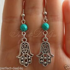 925 Sterling Silver Hook Tibetan Silver Hamsa Charm & Natural Turquoise Earrings