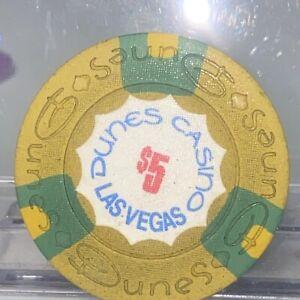 Vintage Las Vegas DUNES $5 Casino Chip Rare Hard To Find