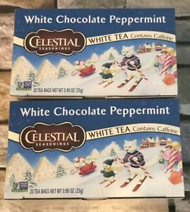 Celestial Seasonings White Tea White Chocolate Peppermint, 2 Pack