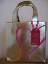 Victoria's Secret Gold Gift Bag Heart Supermodel Makeup Cosmetic Valenitines