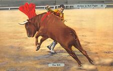 MEXICO ACTION~IN BULL FIGHT~THE KILL~SANDOVAL NEWS PUBL POSTCARD 1940s