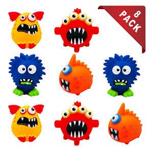 8 X Assorted Dog Vinyl Squeaky Monster Chew Fetch & Retrieve Fun Play Toy Set