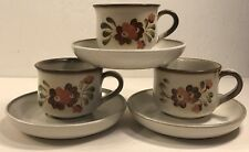 3 Coffee Tea Cups & Saucers Denby-Langley Serenade Stoneware Hand Painted 19626