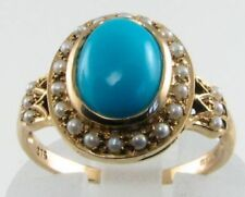 LOVELY 9CT 9K GOLD 9mm x 7mm TURQUOISE & PEARL CLUSTER RING FREE RESIZE