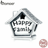 Bamoer European S925 Sterling Silver charm Enamel happy family Fit Bracelet