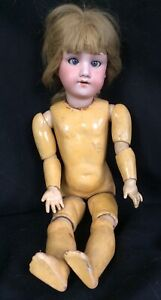 "Antique Armand Marseille Porcelain Bisque Doll 15"" Blue Glass Eyes Blond Jointed"