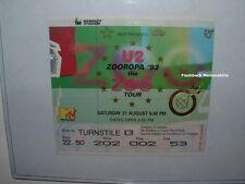 U2 Concert Ticket Stub 1993 WEMBLEY STADIUM Zooropa Tour MTV ZOO Foil U.K. Rare