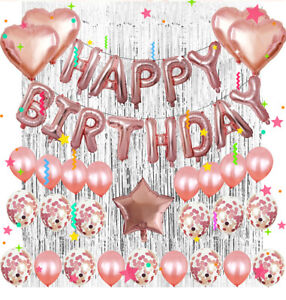 Pretty Happy Birthday Decorations Set Foil Banners Balloons Supplies for Party