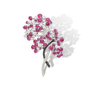 Red Cabochon & White Round CZ 925 Sterling Silver Handmade Flower Design Brooch