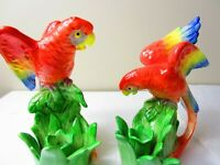 Vintage Set of Parrot Bird Candle Holders Ceramic Colorful MCM Retro 8 IN Tall