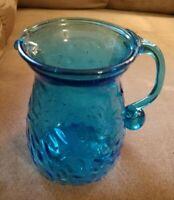"MINT Aqua Teal Aquamarine Blue Hand Blown Art Glass PITCHER 4.5"" High Vintage"