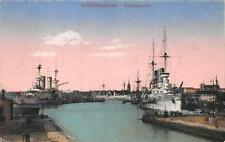 Wilhelmshaven Hafenpartie Battle Ships Germany Ww1 Military Postcard (c. 1915)