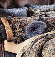 New J. Queen New York Cassandra Euro Pillow Sham, Blue, Reversible