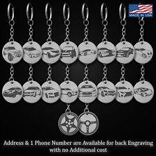 Car Key Chain Fob Rings Engraved Stainless Steel Personalized ID Tags Vehicle