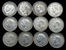 More details for 12 british silver three pence coins 3d georg v & vi tp13